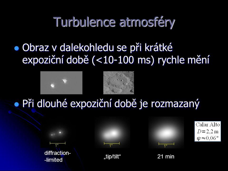 Turbulence atmosféry Obraz v dalekohledu se při krátké expoziční době (<10-100 ms) rychle mění. Při dlouhé expoziční době je rozmazaný.