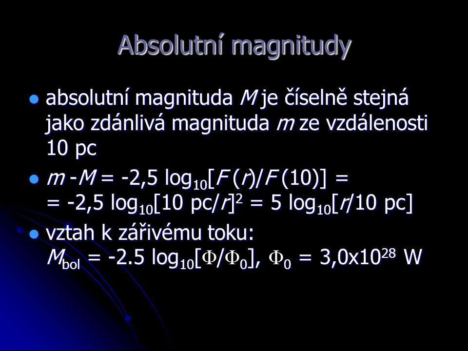 Absolutní magnitudy absolutní magnituda M je číselně stejná jako zdánlivá magnituda m ze vzdálenosti 10 pc.
