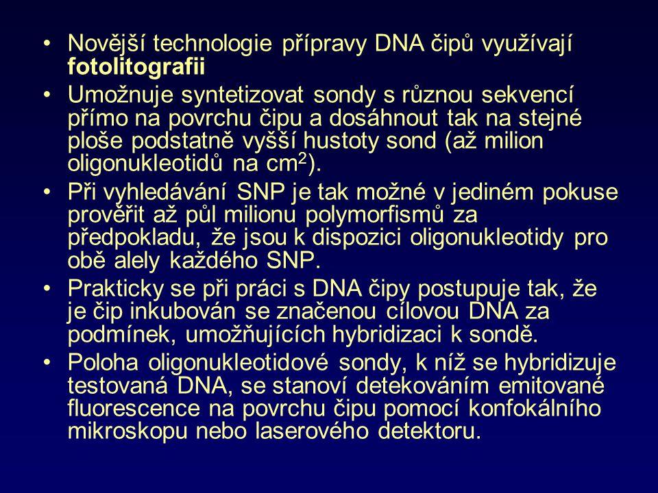 Novější technologie přípravy DNA čipů využívají fotolitografii