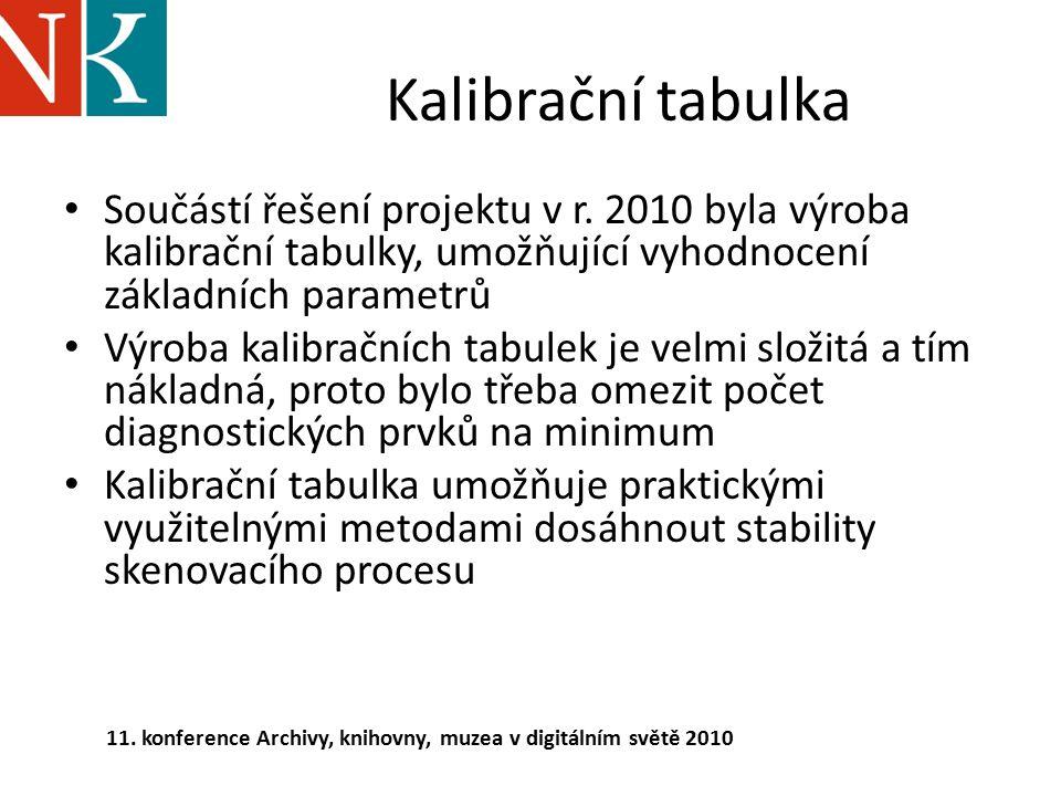 Kalibrační tabulka Součástí řešení projektu v r. 2010 byla výroba kalibrační tabulky, umožňující vyhodnocení základních parametrů.