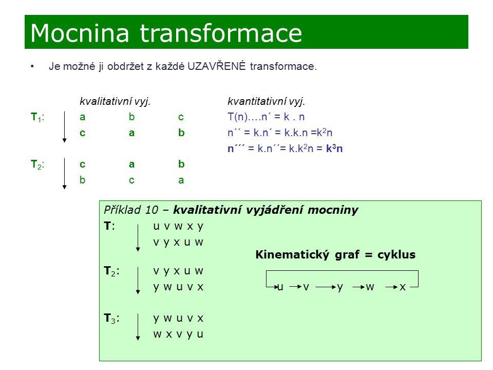 Mocnina transformace Je možné ji obdržet z každé UZAVŘENÉ transformace. kvalitativní vyj. kvantitativní vyj.
