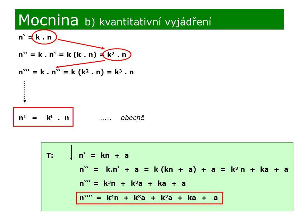 Mocnina b) kvantitativní vyjádření