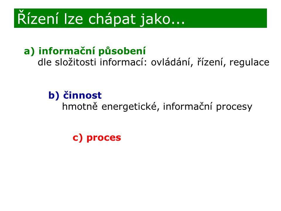 Řízení lze chápat jako... a) informační působení