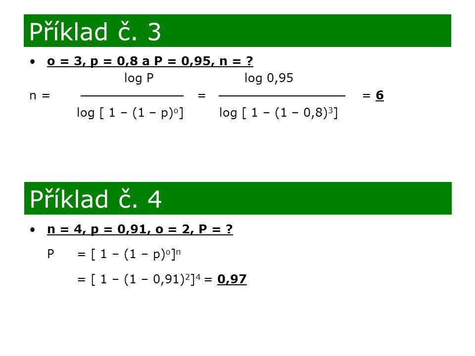 Příklad č. 3 Příklad č. 4 o = 3, p = 0,8 a P = 0,95, n =