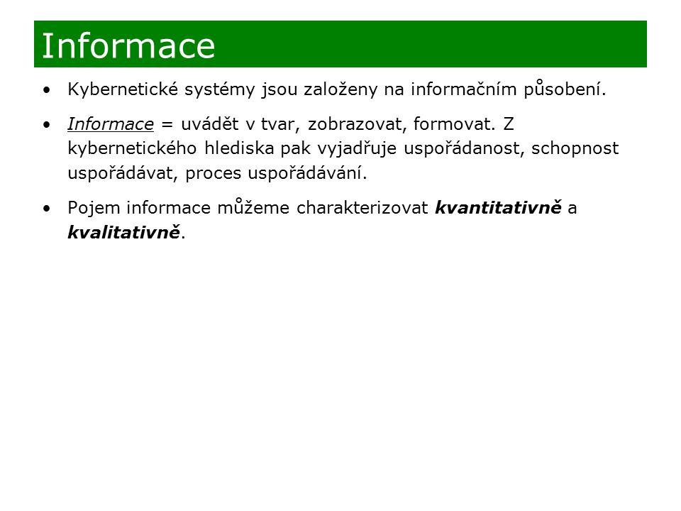 Informace Kybernetické systémy jsou založeny na informačním působení.