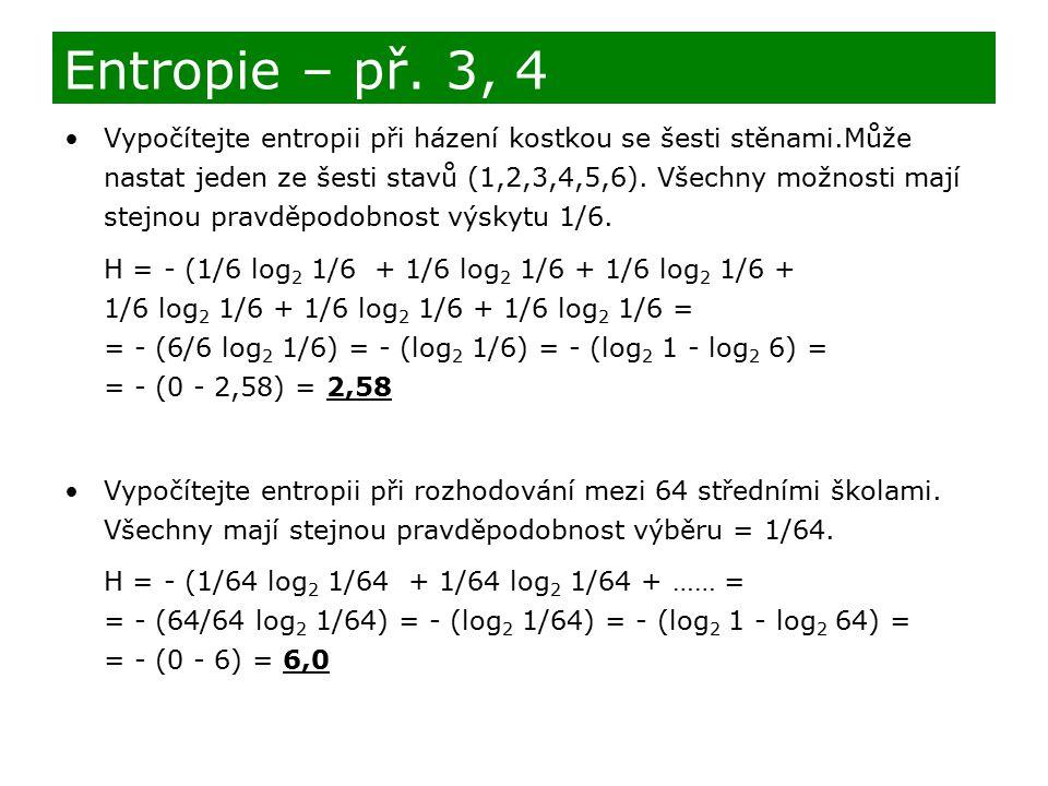 Entropie – př. 3, 4