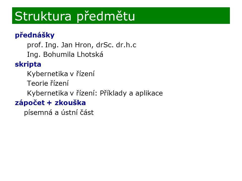 Struktura předmětu přednášky prof. Ing. Jan Hron, drSc. dr.h.c