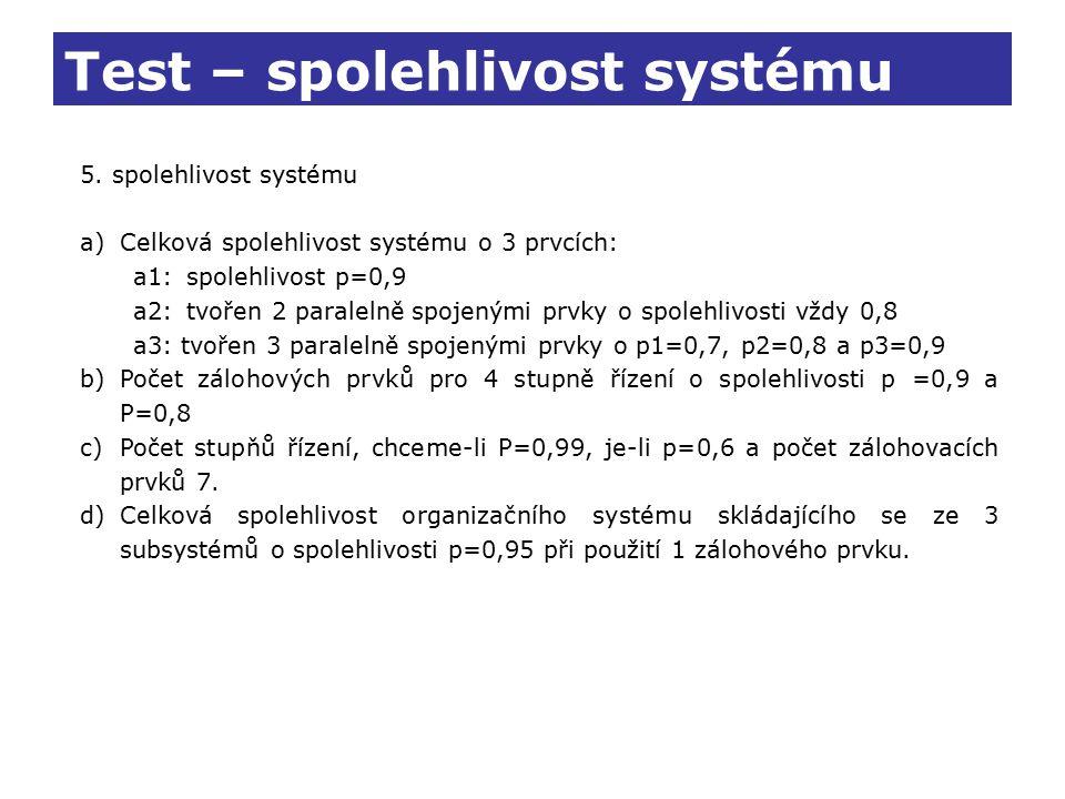 Test – spolehlivost systému