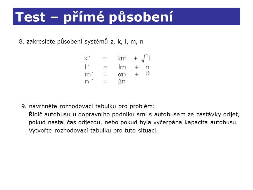 Test – přímé působení 8. zakreslete působení systémů z, k, l, m, n