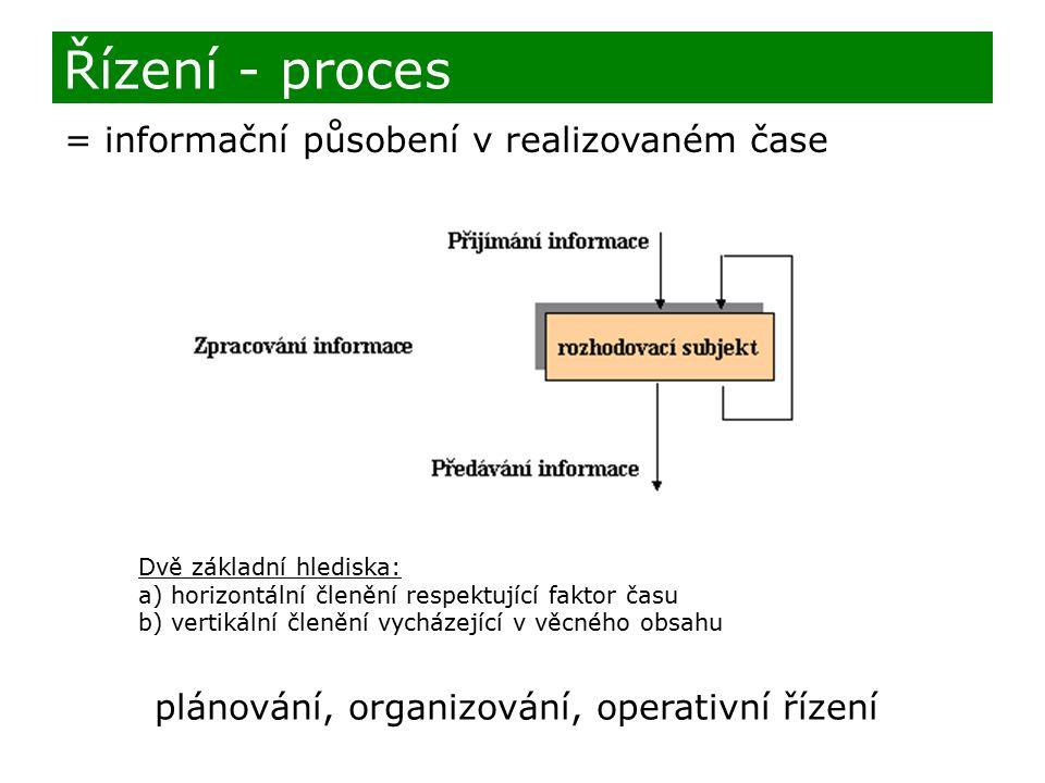 Řízení - proces = informační působení v realizovaném čase