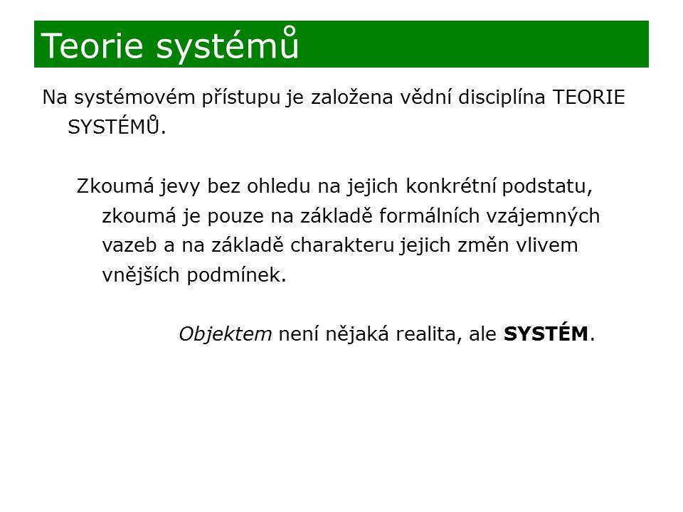 Teorie systémů Na systémovém přístupu je založena vědní disciplína TEORIE SYSTÉMŮ.