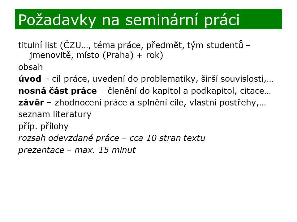 Požadavky na seminární práci
