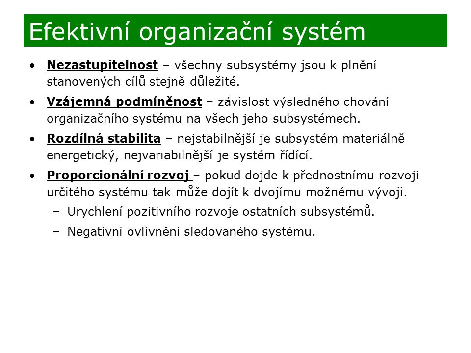 Efektivní organizační systém