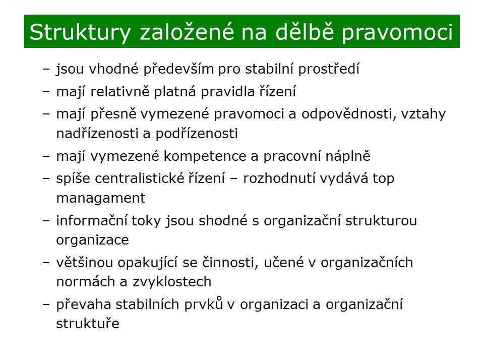 Struktury založené na dělbě pravomoci