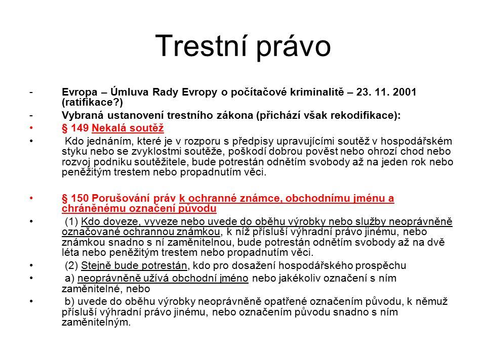 Trestní právo Evropa – Úmluva Rady Evropy o počítačové kriminalitě – 23. 11. 2001 (ratifikace )