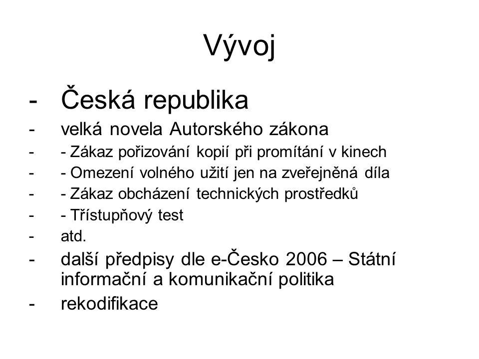 Vývoj Česká republika velká novela Autorského zákona