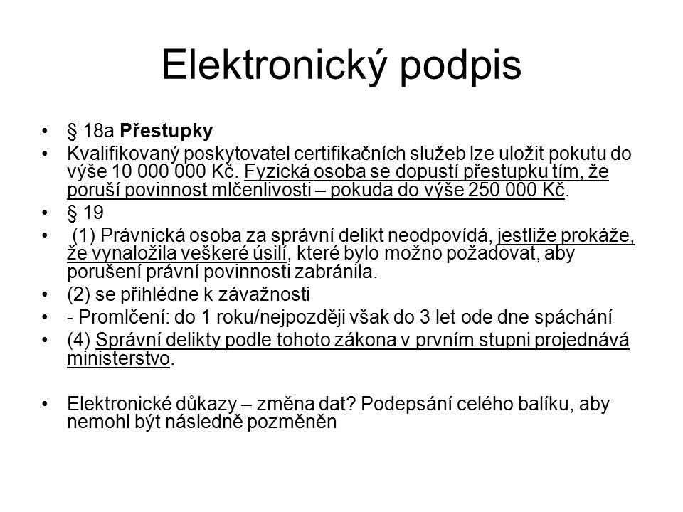 Elektronický podpis § 18a Přestupky