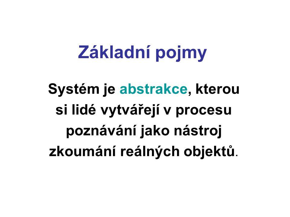 Základní pojmy Systém je abstrakce, kterou si lidé vytvářejí v procesu poznávání jako nástroj zkoumání reálných objektů.