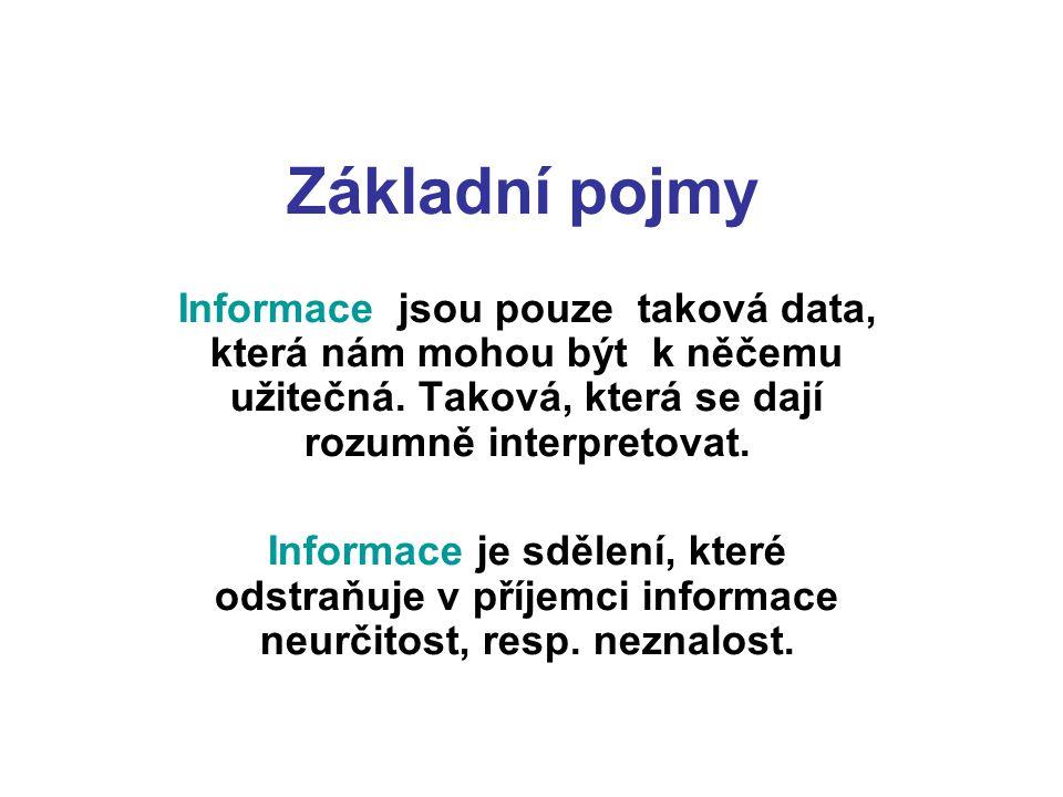 Základní pojmy Informace jsou pouze taková data, která nám mohou být k něčemu užitečná. Taková, která se dají rozumně interpretovat.