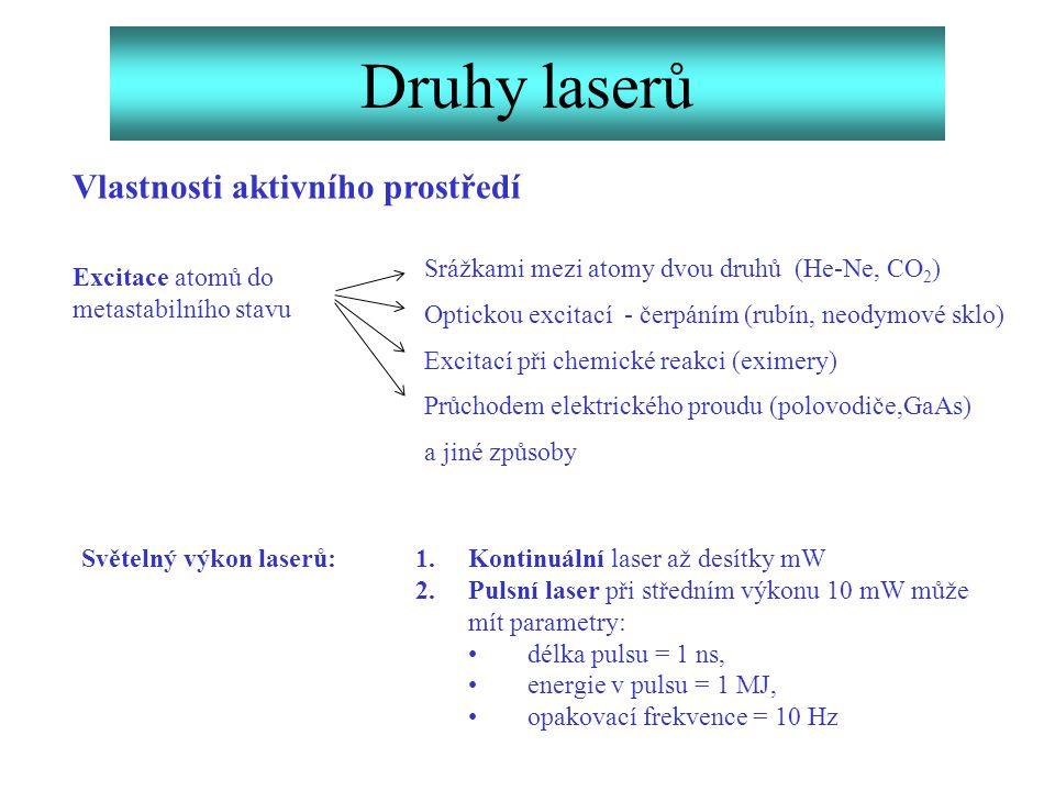 Druhy laserů Vlastnosti aktivního prostředí