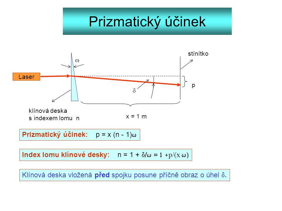 Prizmatický účinek Prizmatický účinek: p = x (n - 1)w