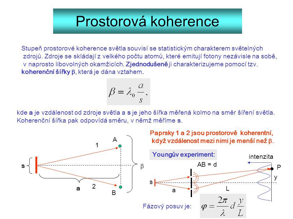 Prostorová koherence Stupeň prostorové koherence světla souvisí se statistickým charakterem světelných.