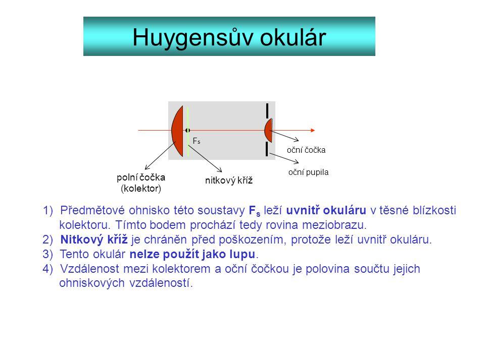 Huygensův okulár Fs. oční čočka. oční pupila. polní čočka. (kolektor) nitkový kříž.