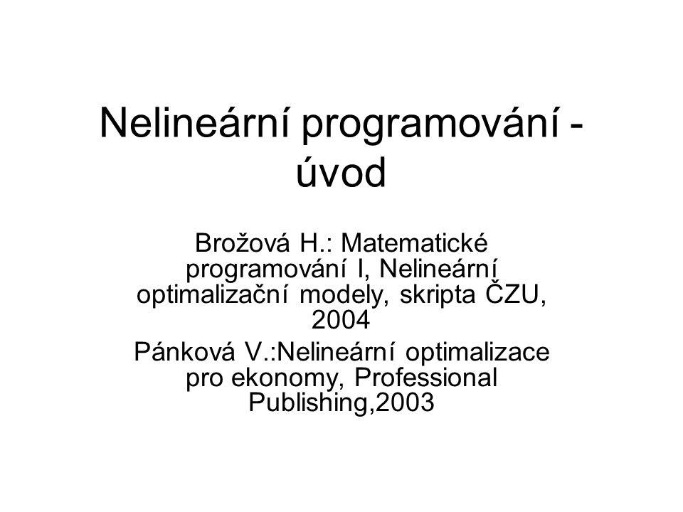 Nelineární programování - úvod