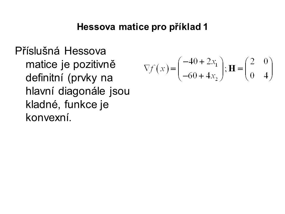 Hessova matice pro příklad 1