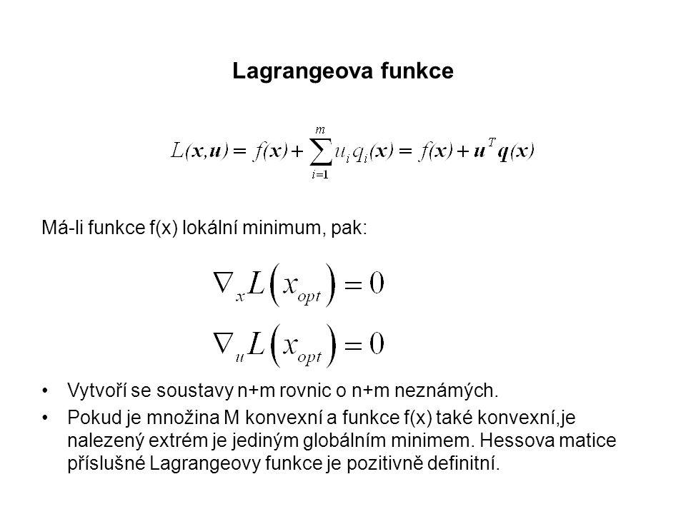 Lagrangeova funkce Má-li funkce f(x) lokální minimum, pak:
