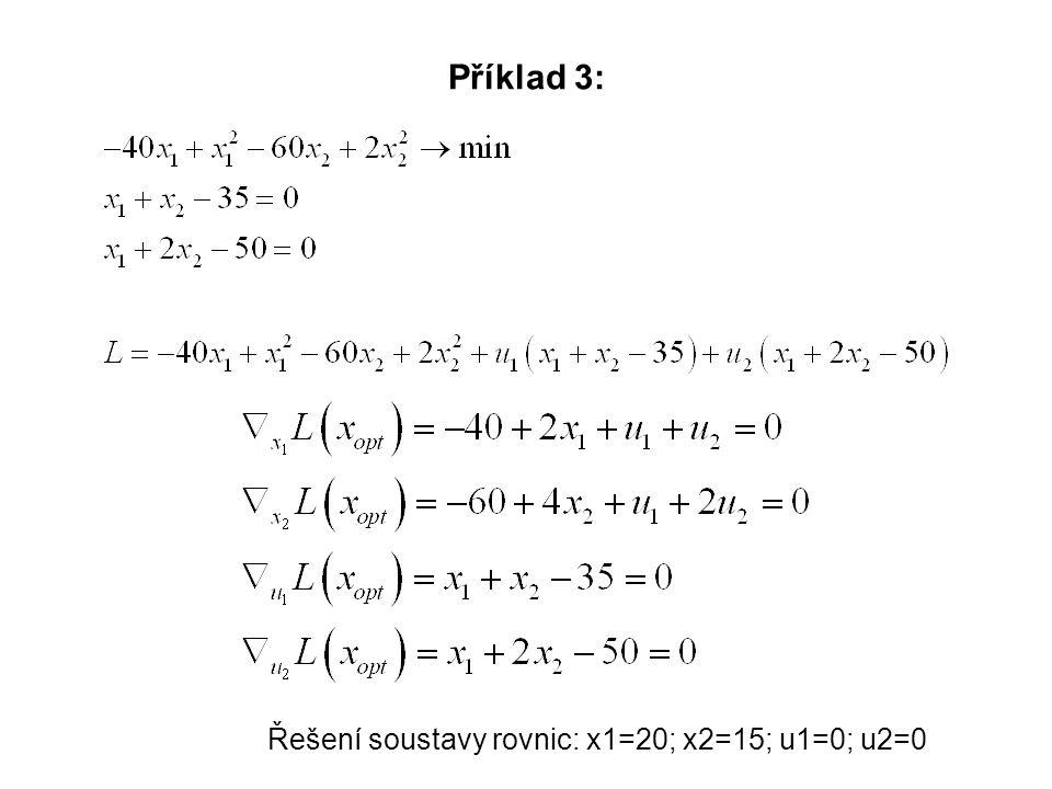 Příklad 3: Řešení soustavy rovnic: x1=20; x2=15; u1=0; u2=0