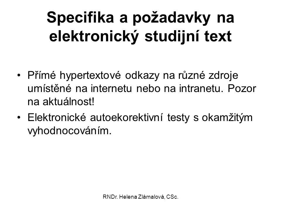 Specifika a požadavky na elektronický studijní text