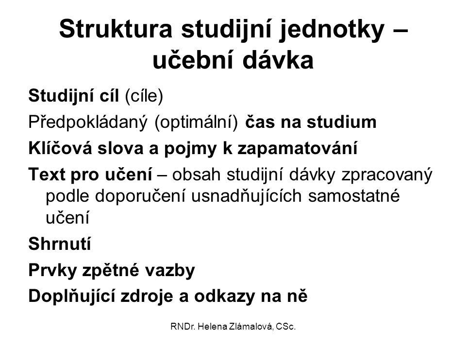 Struktura studijní jednotky – učební dávka