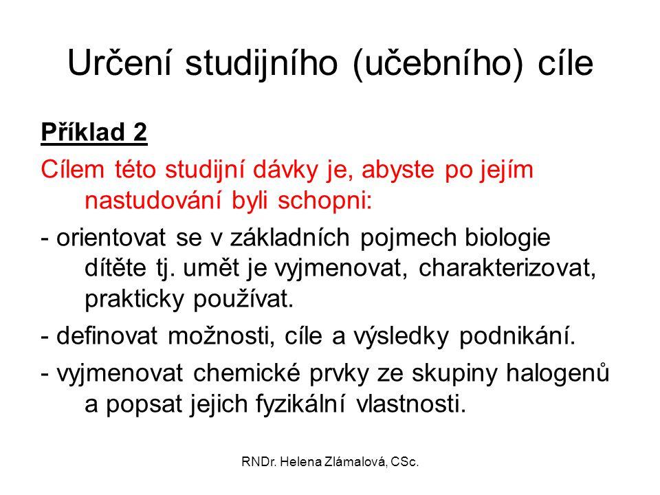 Určení studijního (učebního) cíle