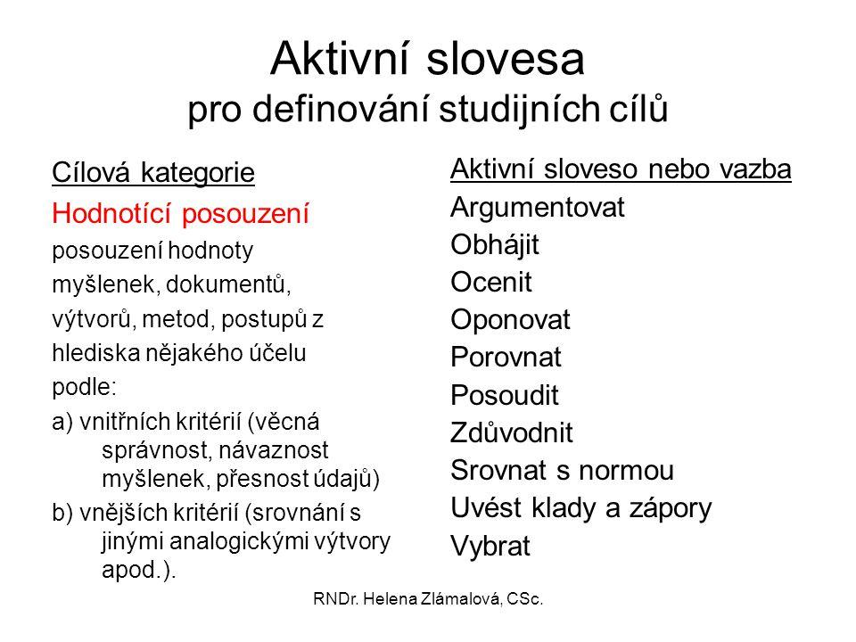 Aktivní slovesa pro definování studijních cílů
