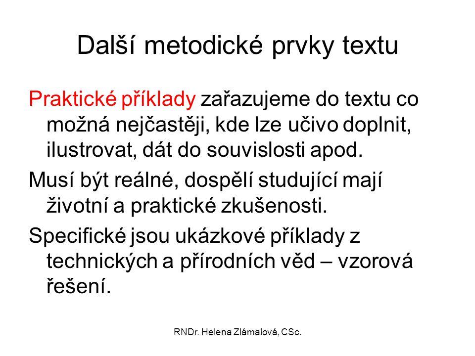 Další metodické prvky textu
