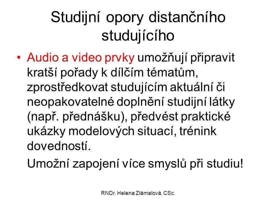 Studijní opory distančního studujícího