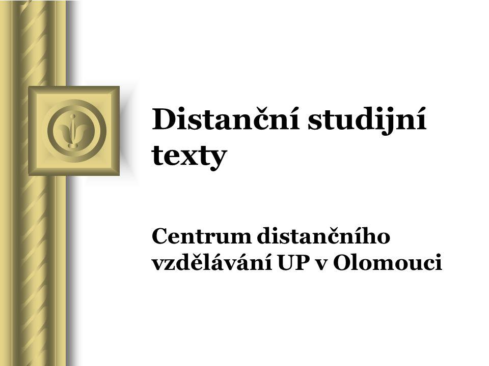 Distanční studijní texty