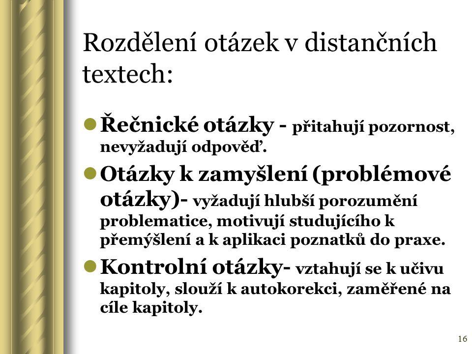 Rozdělení otázek v distančních textech: