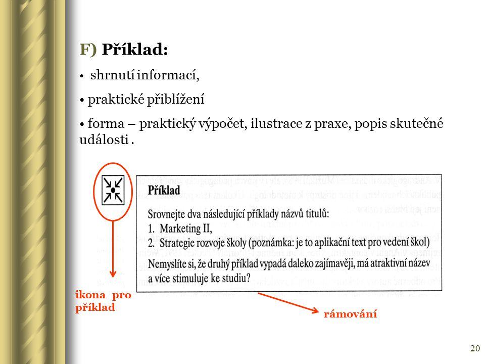 F) Příklad: praktické přiblížení