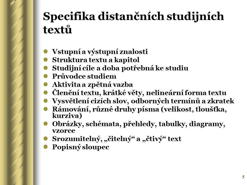 Specifika distančních studijních textů