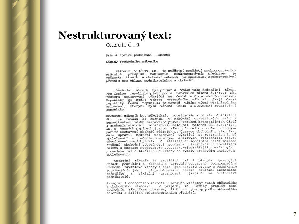 Nestrukturovaný text: