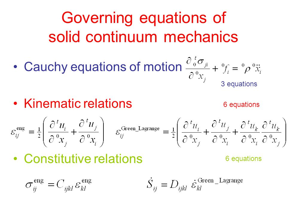 Governing equations of solid continuum mechanics
