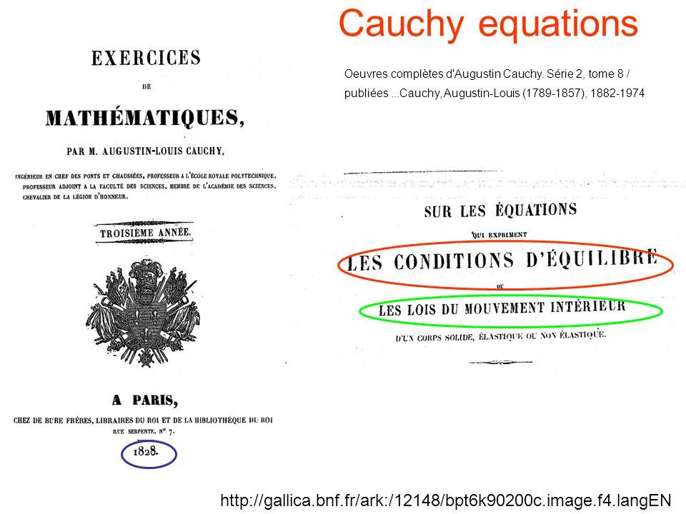 Cauchy equations Oeuvres complètes d Augustin Cauchy. Série 2, tome 8 / publiées ...Cauchy, Augustin-Louis (1789-1857), 1882-1974.