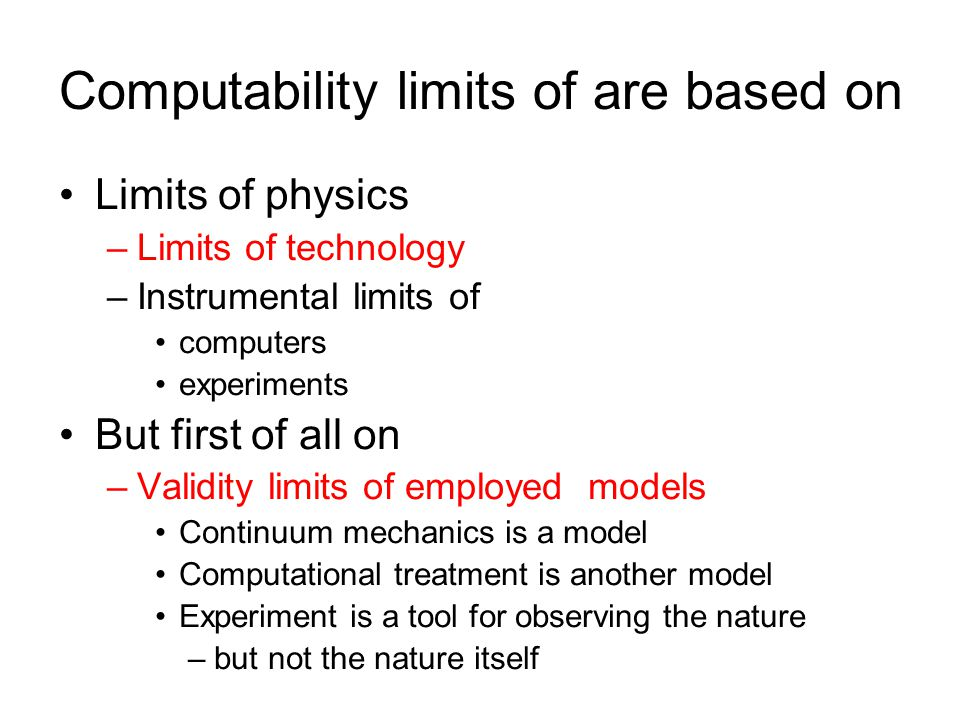 Computability limits of are based on