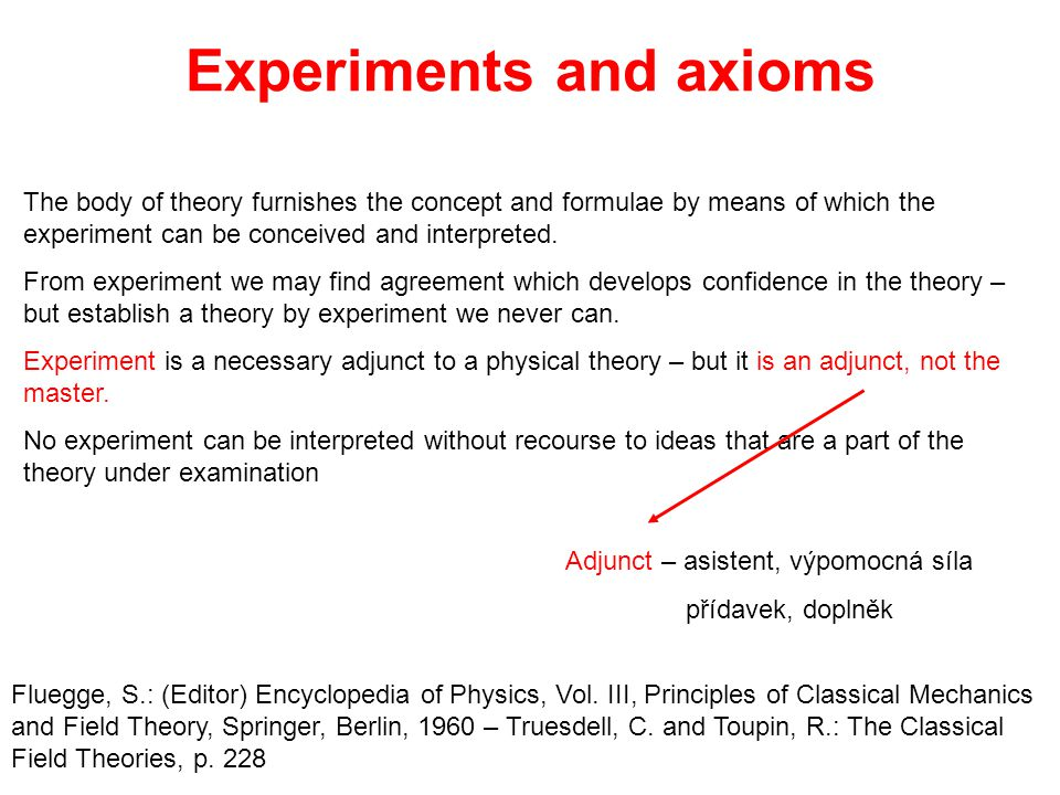 Experiments and axioms