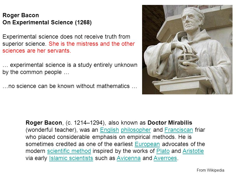 On Experimental Science (1268)