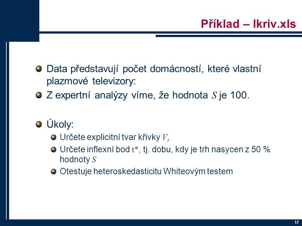 Příklad – lkriv.xls Data představují počet domácností, které vlastní plazmové televizory: Z expertní analýzy víme, že hodnota S je 100.
