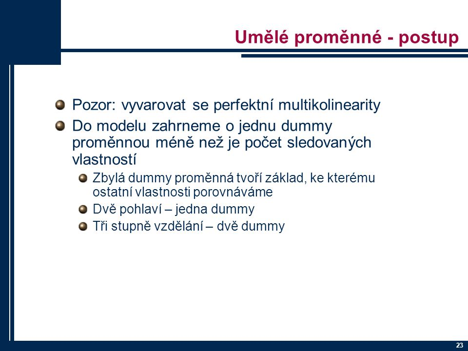 Umělé proměnné - postup