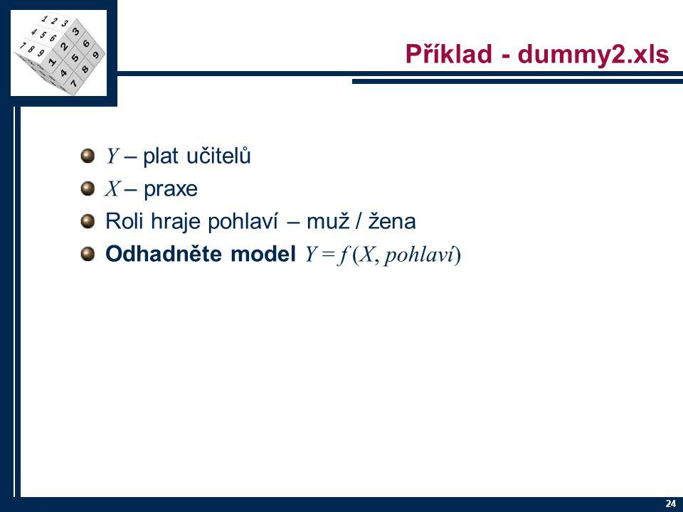 Příklad - dummy2.xls Y – plat učitelů X – praxe